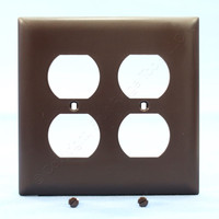 Pass & Seymour TradeMaster Brown 2-Gang Outlet Cover Duplex Receptacle Thermoset Plastic Wallplate TP82