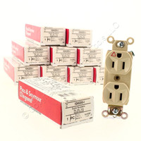 10 Pass & Seymour Spec Grade Ivory ISOLATED GROUND Straight Blade Duplex Outlet Receptacles NEMA 5-15R 15A 125V IG6200-I