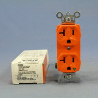 Pass & Seymour Orange Heavy-Duty Grade Isolated Ground Straight Blade Duplex Outlet Receptacle 5-20R 20A 125V IG5362