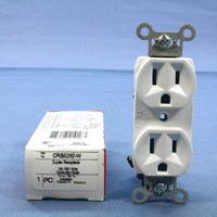 Pass and Seymour White Construction Grade Straight Blade Duplex Outlet Receptacle NEMA 5-15R 15A 125V CRB5262-W
