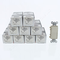 10 Pass and Seymour Light Almond 4-Way Decorator Rocker Wall Light Switches NEMA 5-15R 15A 120/277VAC TM874-LA