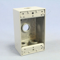 """Pass and Seymour Gray Die-Cast Aluminum Weatherproof 1-Gang Deep Outlet Box 4-Hole 1/2"""" WPB24"""