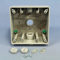 "Pass and Seymour Gray Die-Cast Aluminum Weatherproof 2-Gang Deep Outlet Box 3-Hole 1/2"" WPB232"