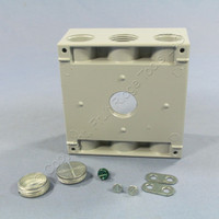 """Pass and Seymour Gray Die-Cast Aluminum Weatherproof 2-Gang Deep Outlet Box 3-Hole 3/4"""" WPB332"""