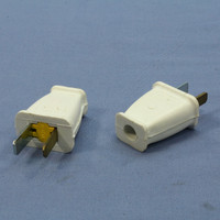2 Cooper White Straight Blade Male Plugs 15A 125V Polarized Non-Grounding NEMA 1-15 1-15P SA540W