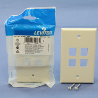 2 NEW Leviton Almond Quickport 4-Port Flush Mount High Impact Fire-Retardant Plastic Wallplate Covers 1-Gang 41080-4AP