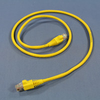 Leviton Yellow Cat 5e 3 Ft Ethernet LAN Patch Cord Network Cable Booted Cat5e AG500-03Y