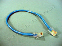 Leviton Blue Cat 5 1Ft Ethernet LAN Patch Cord Network Cable Cat5 8P8C 24AWG 52455-1BL