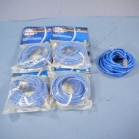 5 Leviton Blue Cat 5 7 Ft Ethernet LAN Patch Cords Network Cables Cat5 52455-7BL