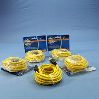 5 Leviton Yellow Cat 5e 15 Ft Ethernet LAN Patch Cords Network Cables Booted Cat5e 5G455-15Y