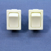 2 Leviton White Snap-In Mini Rocker Panel Switches ON/OFF 10A 125V Single Pole/Throw SPST Micro MR002