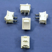 5 Leviton White Snap-In Mini Rocker Panel Switches ON/OFF 10A 125V Single Pole/Throw SPST Micro MR002