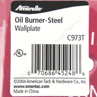 Amerelle Oil Burner Emergency Wallplate Plate 1-Toggle