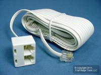 Leviton White 25ft Phone Line Dual Extension Cord RJ11 RJ11 RJ14 4-Wire C2427-25W