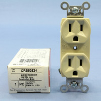 Pass and Seymour Ivory Construction Grade Straight Blade Duplex Outlet Receptacle NEMA 5-15R 15A 125V CRB5262-I