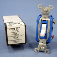 Pass & Seymour White COMMERCIAL Toggle Light Switch 3-Way 15A CS315-W