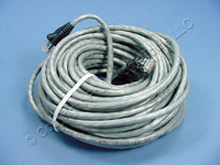Leviton Gray Cat 5e 50 Ft Ethernet LAN Patch Cord Network Cable Booted Cat5e 5G455-50G