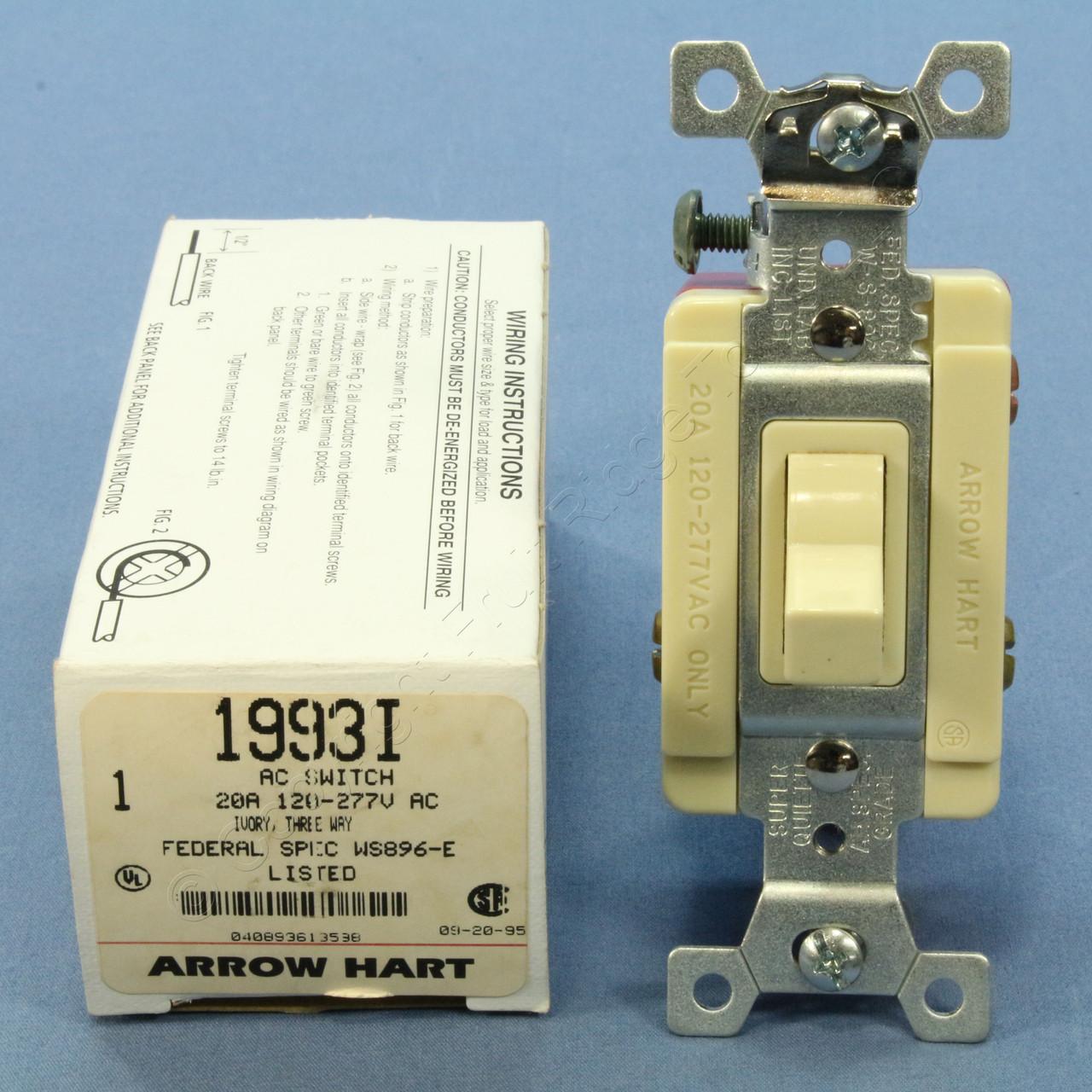 Arrow Hart Spec Grade Ivory 3Way Toggle Wall Light Switch Control 20A Bulk 8339I