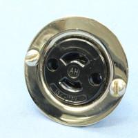 Arrow Hart Armored Black Midget Locking Flanged Outlet Receptacle Industrial Grade NEMA ML-1R 15A 125V 2P 2W 7468