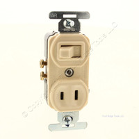 "Ace Ivory ""T"" AC DC Combination Devices NON-GROUNDING Receptacle 15A 125V Wall Light Switch 10A 125V 5A 250V 31136"