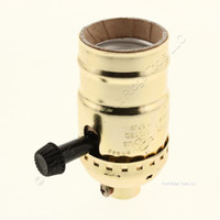 "Ace Turn Knob 3-Way Light Socket Polished Brass Lamp Holder Electrolier 1/8"" IPS 27 tpi Mount 250W 250V 31189"