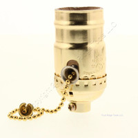 "Ace Cooper Pull Chain Light Socket Brass Finish Lampholder Electrolier 1/8"" IPS 600W 250V 31186"