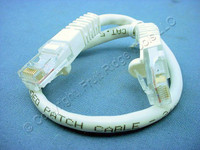 Leviton White Cat 5 1' Ethernet LAN Patch Cord 1 Ft Network Cable Booted 47620-1W