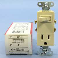 P&S Ivory Combination Decorator Toggle Wall Light Switch 5-15R 15A 125V Straight Blade Single Outlet Receptacle 681-I
