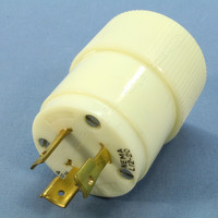 Vintage Bryant White Nylon Turn Twist Locking Plug NEMA L12-20P 20A 480V 3� Bulk 71220NP