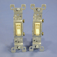 2 Leviton Ivory Framed Toggle Wall Light Switches Single Pole 15A 120V 1451-I