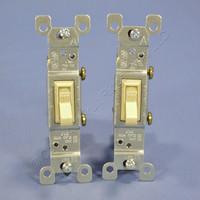2 Leviton Ivory Framed Toggle Wall Light Switches Single Pole 15A 120V 1451-I