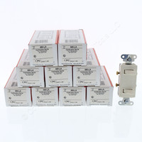 10 Pass & Seymour Light Almond COMMERCIAL Grade Single Pole Dual Duplex Decorator Toggle Light Switches 15A 120V 680-LA