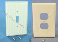 Leviton Oversize Whitewash Wood Wallplate Toggle Switch Receptacle Outlet Cover Decorative Straight Edge 89203-WWP