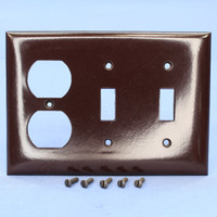 P&S Brown Standard Size 3-Gang Duplex Outlet Receptacle Toggle Switch Combination Thermoset Wallplate Plastic Cover SP28