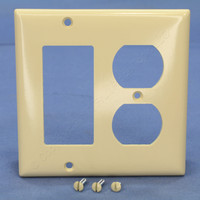 Pass and Seymour Ivory Standard Size 2-Gang Decorator Duplex Outlet Thermoset Plastic Wallplate Cover SP826-I