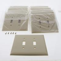 20 Pass & Seymour Ivory Jumbo Thermoset 2-Gang Toggle Switch Cover Urea Plastic Wallplates SPO2-IU