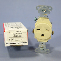 Pass and Seymour Ivory Industrial Single Outlet Receptacle NEMA 6-15R 15A 250V 5651-I