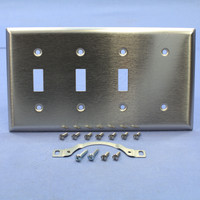 Pass & Seymour NON-MAGNETIC Stainless Steel Combination 4-Gang 1-Blank Strap Mount 3-Toggle Switch Cover Wallplate SS314