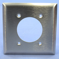 "Pass Seymour NON-MAGNETIC Type 302 Stainless Steel Power Receptacle 2-Gang Wallplate Outlet Cover 2.1563"" Opening SS703"