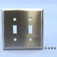 Pass & Seymour NON-MAGNETIC Type 302 Stainless Steel Junior-Jumbo 2-Gang Toggle Switch Cover Wallplate Switchplate SSJ2