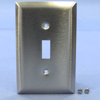 Pass & Seymour Type 302 NON-MAGNETIC Stainless Steel Junior-Jumbo 1-Gang Toggle Switch Cover Wallplate Smooth Metal SSJ1