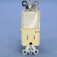 Pass & Seymour Ivory Decorator 15A Tamper Resistant Receptacle Outlet with LED Hallway Guide Light 125V TM8HWL-TRICC6