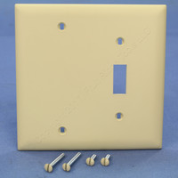 Pass and Seymour Trademaster Ivory 2-Gang Combination Blank Toggle UNBREAKABLE Nylon Wallplate Cover TP113-I