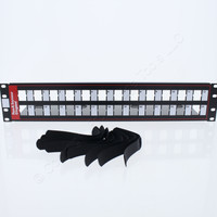 "Pass and Seymour Black Modular Jack Open Patch Panel Rack Mount 24-Port 3.5"" x 19"" PSPKIT24"
