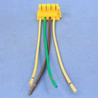 """P&S Yellow PlugTail Switch 4-Wire Female Connector 6"""" Stranded THHN12 Right Angle for 277V Applications PTS6-STR4-277"""