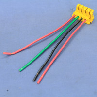 """Pass & Seymour Yellow PlugTail Switch 4-Wire Female Connector 6"""" Stranded THHN12 Right Angle PTS6-STR4"""