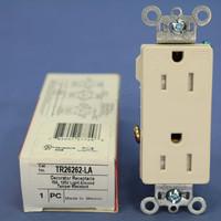 Pass & Seymour Light Almond Tamper Resistant Decorator Straight Blade Outlet Receptacle NEMA 5-15R 15A 125V TR26262-LA