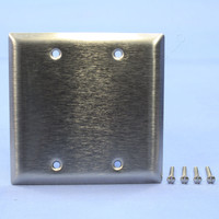 Pass and Seymour 2-Gang Type 430 Magnetic Stainless Steel BLANK Wallplate Cover Box Mounted SL23
