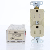 Pass & Seymour Ivory Tamper Resistant Straight Blade Duplex Slim Receptacle Outlet 5-15R 15A Specification Grade SG62-I