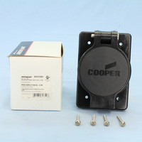 Cooper Black Watertight Single 20A Receptacle Outlet Flip Cover NEMA 5-20R 125V 2P3W Grounding Straight Blade 60W33BK